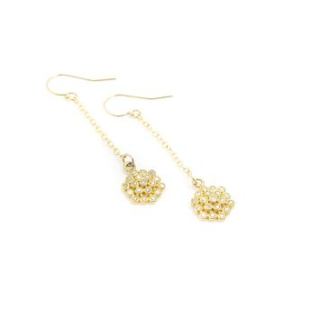 Champagne Diamond Flower Earrings