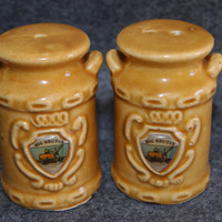 Vintage Ceramic Milk Can Shape Salt And Pepper Shakers Imported By Lipco Plaque On Front Of Cans Reads BIG BRUTUS 1970s