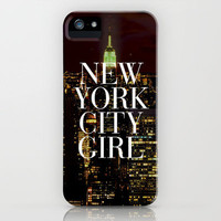New York City Girl Manhattan Skyline iPhone Case by RexLambo | Society6