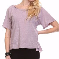 Raw Edge Garment Dye Top - Lavender