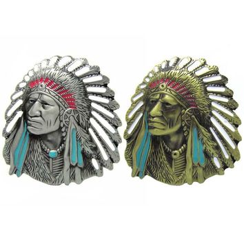 Indian Chief Motorcycle Native American Western Belt Buckle Free Shipping