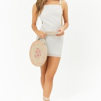 Open-Back Eyelet Raw-Cut Mini Dress