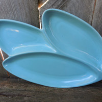 Cameron Clay Co USA Pottery Pale Blue Divided Dish Home Decor