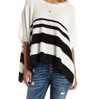 Black/Ivory Waffle Knit Striped Poncho Sweater by Charlotte Russe