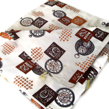 Vintage Handmade Quilt or Lap Blanket in a 60's Pattern Fabric
