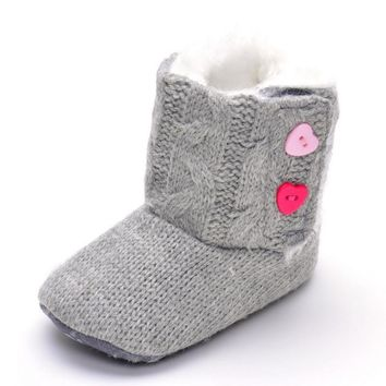 Winter Baby Snow Boots Warm Toddler Shoes Knitted Solid Love Heart Button Shoes