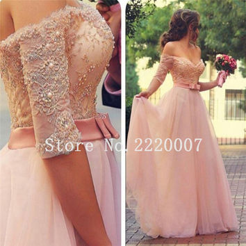Long Lace Evening Dresses Party Pearls A Line Off Shoulder Tulle Women Ladies Formal Evening Dresses Gowns for Wedding