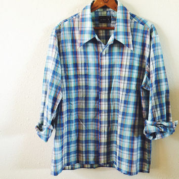 Mens, 70s Dress Shirt, Vintage, Hipster, Grunge, Button Down Shirt, Montgomery Ward, Unisex, Size Large