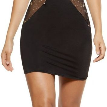 Roma RM-3360 Cutout Dress with Glitter Sheer mesh Panels