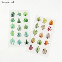 Season Spring Plant Leaves PVC Decorative Sticker Diary Album Label Sticker DIY Scrapbooking Stationery Stickers Escolar