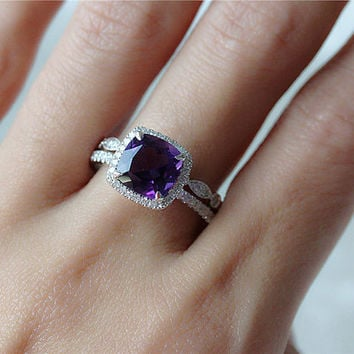 Birthstone Ring Set 14K White Gold Diamond Halo Amethyst Engagement Ring and Unique Half  Eternity Band/Anniversary Ring Diamond Band