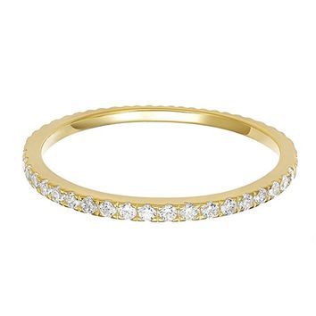 14K Gold Plated Sterling Silver CZ Simulated Diamond Stackable Ring Eternity Bands for Women