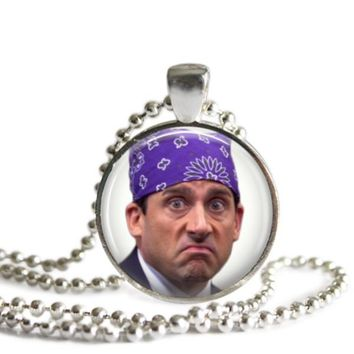 The Office Prison Mike 1 Inch Silver Plated Pendant Necklace Handmade