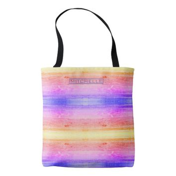 Personalized Rainbow Wood Tote Bag