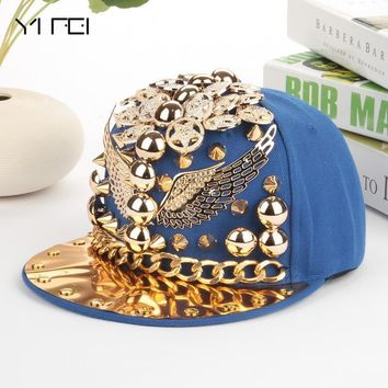 Trendy Winter Jacket Cool Summer Eagle Kids Baseball Caps Street dance punk rivet Hip hop Cap boys Casual Snapback Hat Flat Brimmed Hat AT_92_12