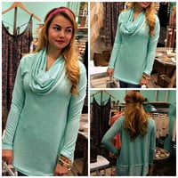 Mint to Be Cowl Neck Tunic