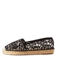 Black Slip-On Lace Espadrille Flats by Charlotte Russe