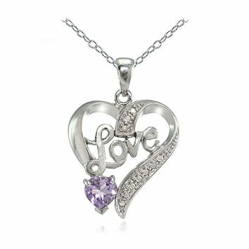 "Sterling Silver Amethyst or Blue Topaz and Diamond Accent ""Love"" Heart Necklace"