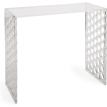 Bea Honeycomb Acrylic Console, Clear, Acrylic / Lucite, Console Table