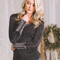 Able. Thermal Long Sleeve Snap Top-Black