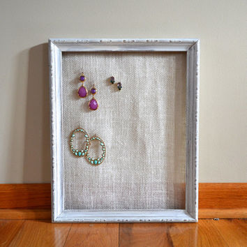 White Wooden Shabby Chic Jewelry Organizer With Ivory Burlap