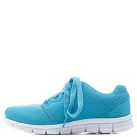 Turquoise Colored Mesh Athletic Sneakers by Charlotte Russe