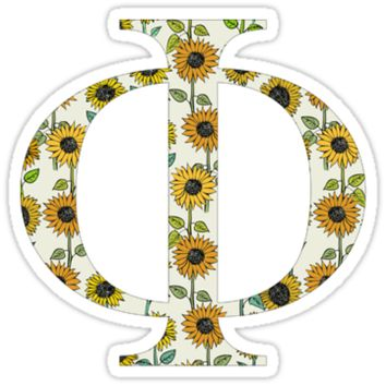 phi sunflower greek letter sticker by hope schmeiser