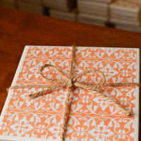 Orange Floral Coasters, orange coasters, floral coasters, orange decor, home decor, ornage home decor