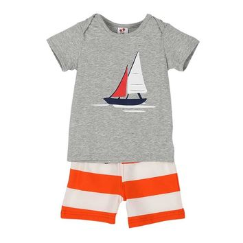 New 2017 New Style Baby Kids Boy Summer T-shirt+ Pants Summer Outfits Beach Clothes Hot