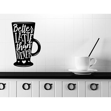 Large Vinyl Wall Decal Words on Coffee Mug Quotes About Coffee Stickers (n1130)