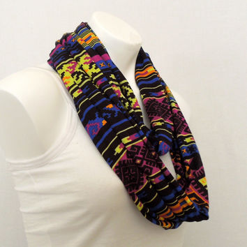 Royal Blue Aztec Infinity Scarf, Jersey Scarf, Tube, Eternity Scarf