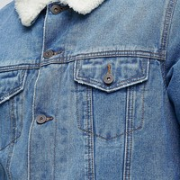 ASOS Denim Jacket with Fleece Collar in Mid Wash