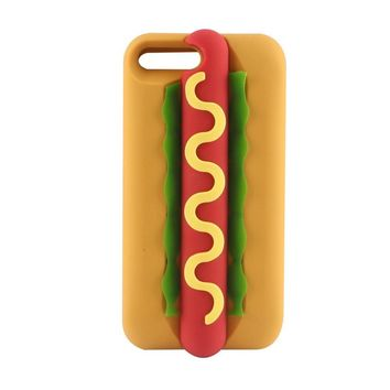 "Case for iPhone 7,Vivid Hotdog Bread Shaped Dairy Fast Food Hamburger Hot Dog 3D Cute Cartoon Character Protective Skin Soft Rubber Silicone Case Back Cover for iphone 7(4.7"" Inch)(Hot Dog)"