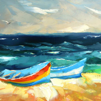 "In the azure waves. Modern Art. Oil Painting on canvas by Dmitry Spiros.  Size: 24""x36"" (60 x 90 cm)"