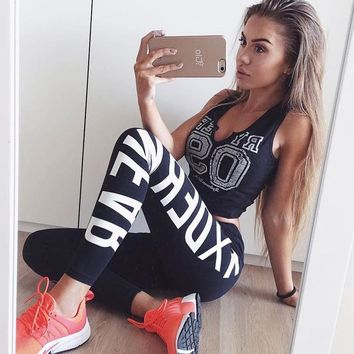 2017 new MONOCHROMATIC sports Yoga PANTS letters RXDE RWF AR printing high waist Band Leggings Dancing Pilates Class activewear