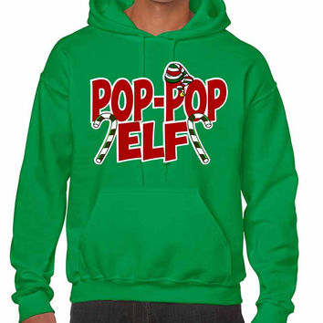 Men's Hoodie Pop Pop Elf Ugly Xmas Holiday Family Cute Gift