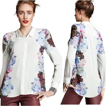 2015 New Fashion Women's Floral Print Chiffon Blouses Shirt Casual Long Sleeve Tops Shirt Elegant Brand Design Loose Tops S/M/L