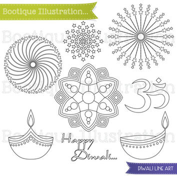 Diwali Digital Stamp. Diwali Line Art. Diwali Clipart. Om, Rangoli, Diya, Fireworks Digital Stamps. Festival of Light Digital Stamp.
