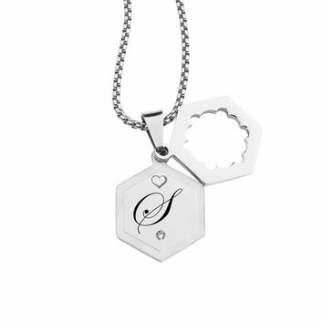 Double Hexagram Initial Necklace With Cubic Zirconia By Pink Box - S