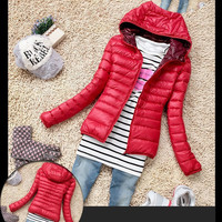 Women's Red Down Jacket, Fashion Winter Casual Womens Down Jacket, Women Down Outwear