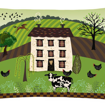 Folk Art Country House Canvas Fabric Decorative Pillow VHA3024PW1216
