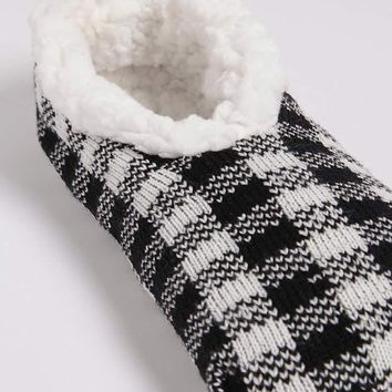 Plaid Embroidered Slipper Socks