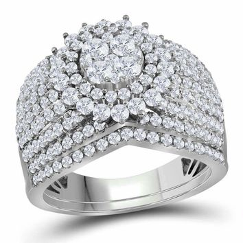 14kt White Gold Women's Round Diamond Cluster Bridal Wedding Engagement Ring Band Set 2.00 Cttw - FREE Shipping (US/CAN)