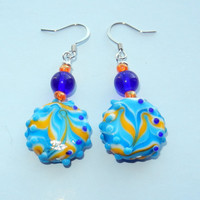 Blue and Citrus Lampwork Glass Earrings