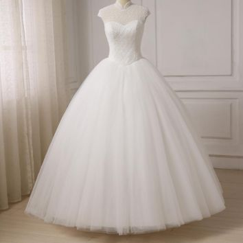 New Luxury Crystals Wedding Dresses High Collar Ball Gown Bridal Gowns Floor Length Back Lace Up