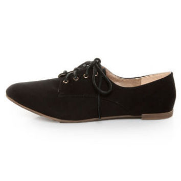 Qupid Salya 585 Black Suede Lace-Up Oxfords - $27.00