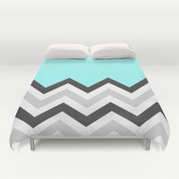 Color Blocked Chevron 16 Duvet Cover by Josrick