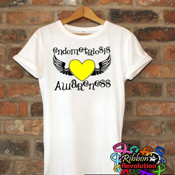 Endometriosis Awareness Heart Tattoo Wing Shirts
