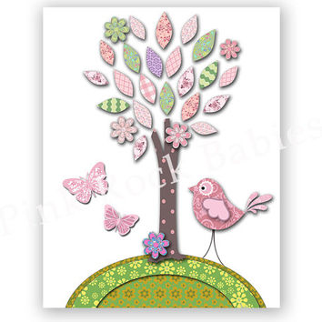 Pink nursery wall decor baby girl room poster kids room artwork children room bird decoration toddler wall art shower gift playroom decor