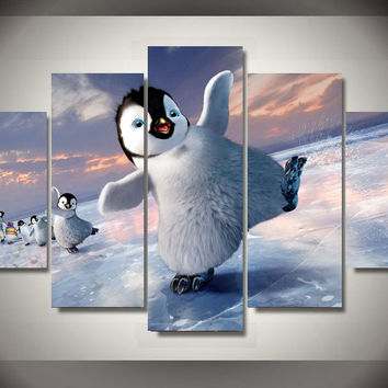 Happy Feet Penguin 5-Piece Wall Art Hanging